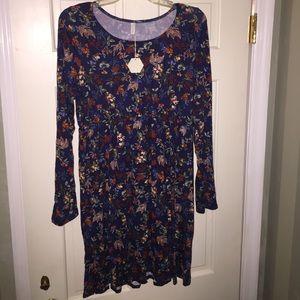 Empire Waist Long Sleeve Floral Dress